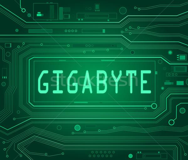 Gigabájt absztrakt stílus illusztráció nyomtatott áramkör alkotóelemek Stock fotó © 72soul
