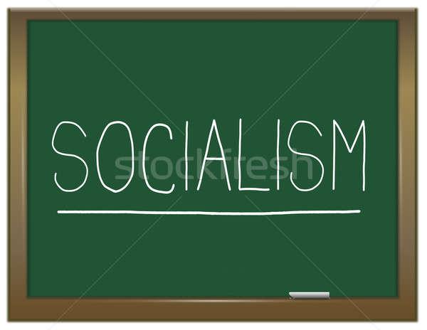 Socialisme illustratie groene schoolbord geschreven onderwijs Stockfoto © 72soul