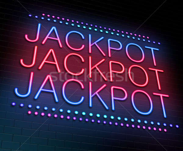 Jackpot illustration enseigne au néon bleu nuit Photo stock © 72soul