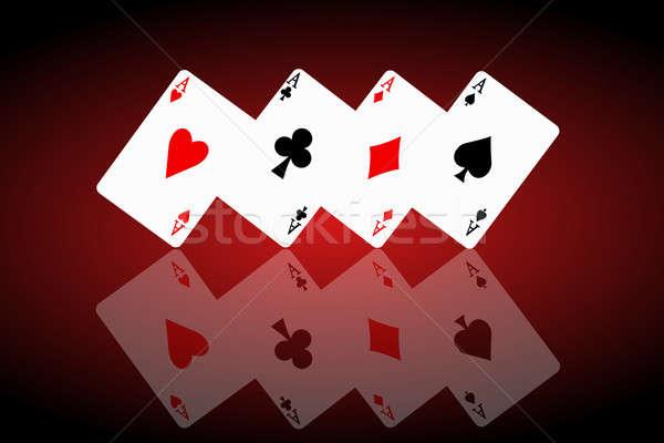 Gevoel gelukkig geïllustreerd vier aas kaarten Stockfoto © 72soul