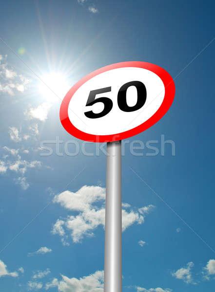 Límite de velocidad signo ilustración senalización de la carretera cielo azul luz del sol Foto stock © 72soul