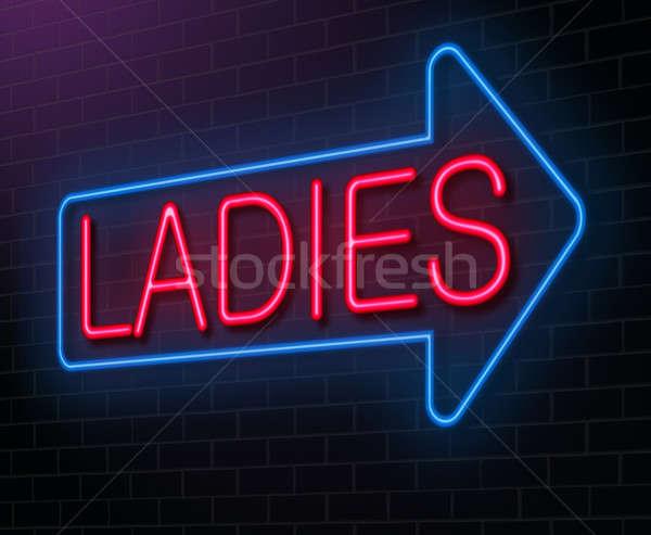 Dames enseigne au néon illustration signe nuit Photo stock © 72soul