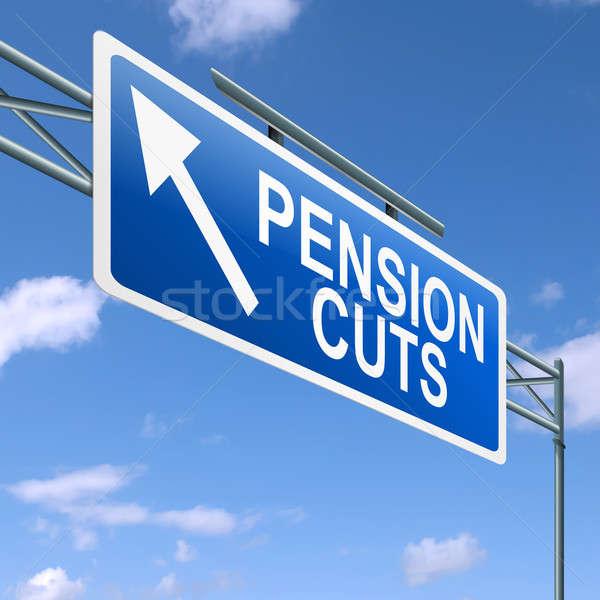 Pension illustration autoroute signe ciel bleu argent Photo stock © 72soul