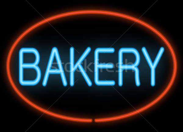 Boulangerie enseigne au néon illustration néon affaires Photo stock © 72soul