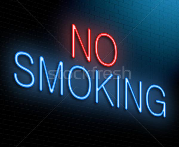 Dohányozni tilos illusztráció megvilágított neonreklám egészség füst Stock fotó © 72soul