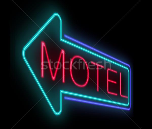 Motel imzalamak örnek neon ev Stok fotoğraf © 72soul