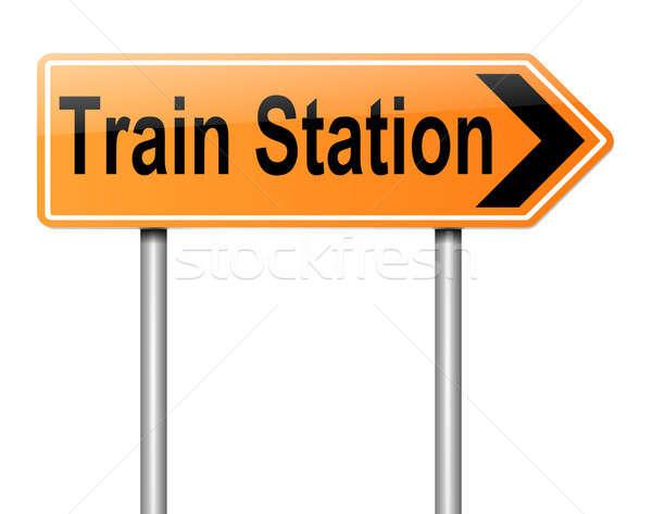 Vasútállomás felirat illusztráció vezető üzlet épület Stock fotó © 72soul