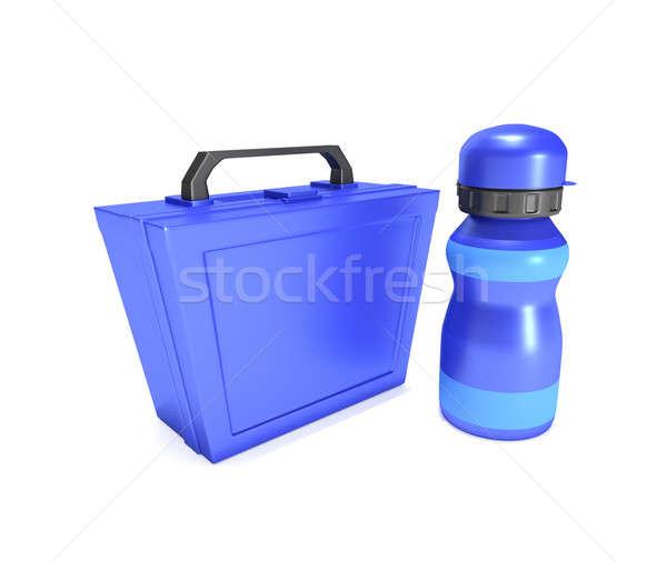 ételhordó doboz flaska illusztráció kék gyermek ital Stock fotó © 72soul