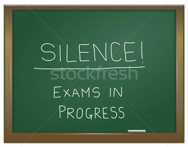 Vizsga illusztráció zöld kréta tábla szavak Stock fotó © 72soul