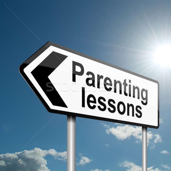 Crianza de los hijos lecciones ilustración carretera signo tráfico cielo azul Foto stock © 72soul