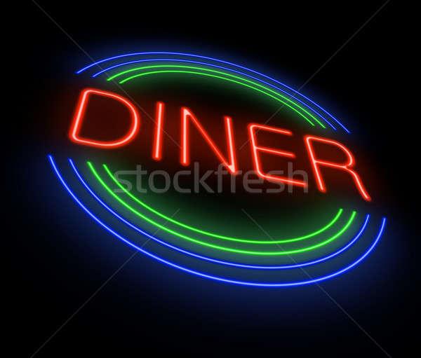 Neon lokanta imzalamak örnek iş Stok fotoğraf © 72soul