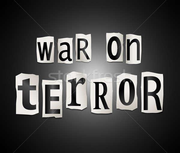 Guerra terrore illustrazione set stampata Foto d'archivio © 72soul