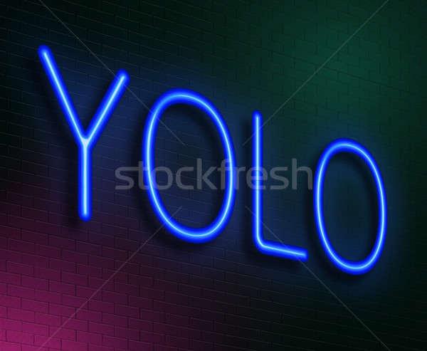 örnek neon mavi neon yaşamak Stok fotoğraf © 72soul