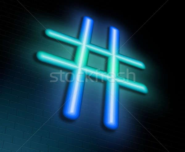 Illusztráció megvilágított neonreklám háló éjszaka kulcs Stock fotó © 72soul