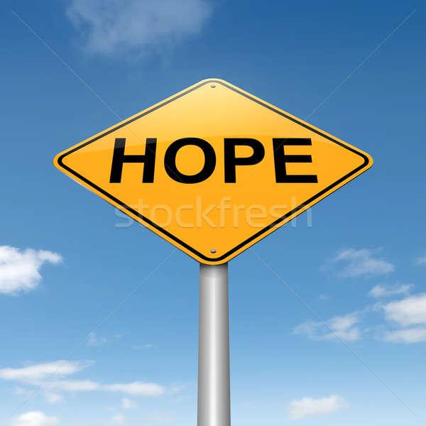 Foto stock: Esperança · ilustração · céu · fundo · assinar