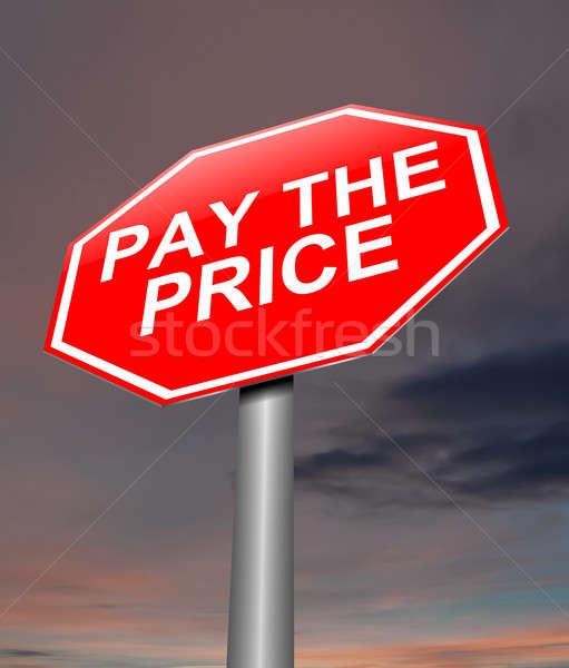 Illetmény ár illusztráció felirat háttér piros Stock fotó © 72soul