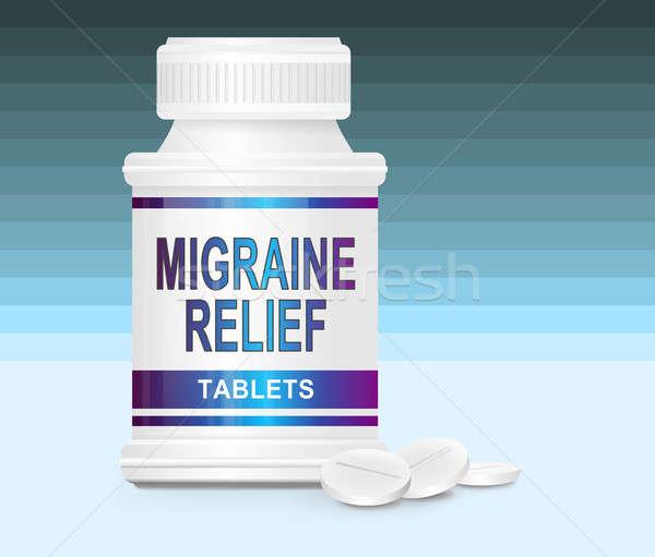 Migrena lek ilustracja pojemnik słowa ulga Zdjęcia stock © 72soul