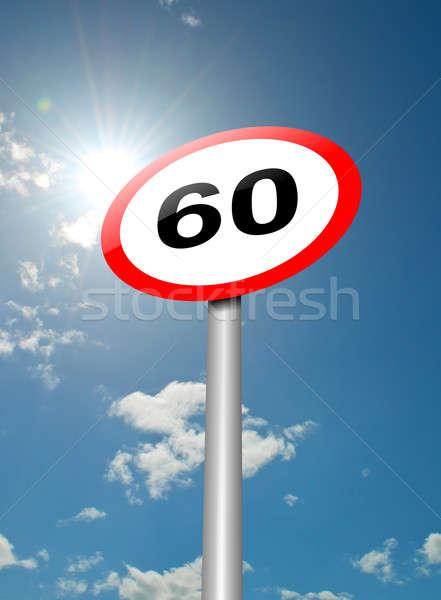 Hız limiti imzalamak örnek yol işareti mavi gökyüzü güneş ışığı Stok fotoğraf © 72soul