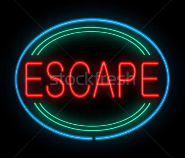 Flucht Zeichen Illustration Leuchtreklame läuft schwarz Stock foto © 72soul