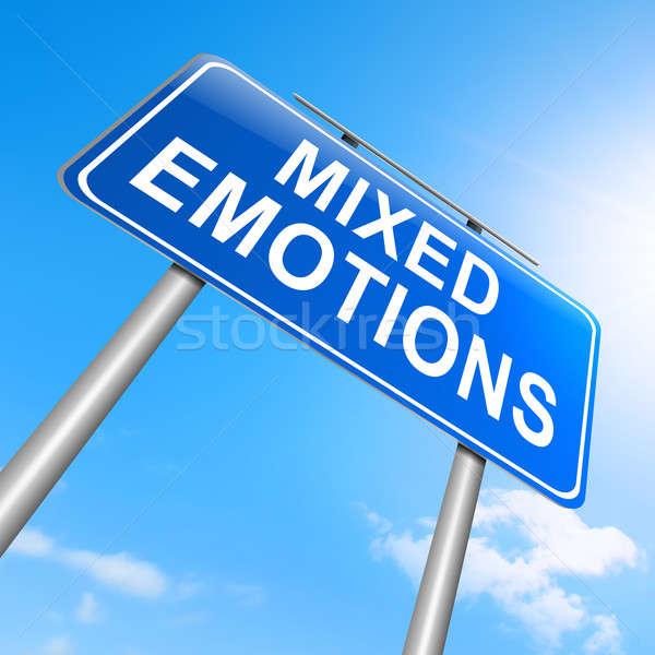 Vegyes érzelmek illusztráció felirat háttér vicces Stock fotó © 72soul