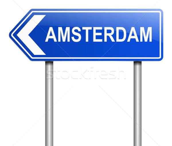 Amsterdam örnek imzalamak mavi grafik kavram Stok fotoğraf © 72soul