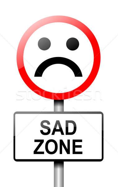 Smutek ilustracja drogowego znak drogowy biały zdrowia Zdjęcia stock © 72soul