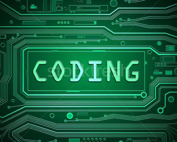 Kódolás absztrakt stílus illusztráció nyomtatott áramkör alkotóelemek Stock fotó © 72soul