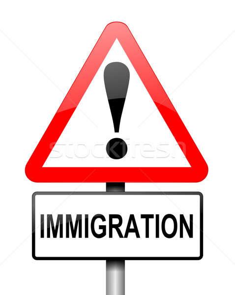 Einwanderung Illustration rot weiß Warnzeichen home Stock foto © 72soul