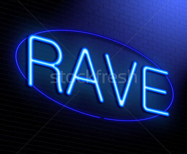 Rave illustratie verlicht neonreclame abstract dansen Stockfoto © 72soul