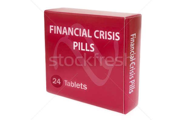 Foto stock: Crise · financeira · vermelho · medicina · empacotar · palavras · pílulas
