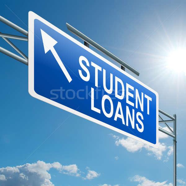 Foto stock: Estudiante · ilustración · carretera · signo · cielo · azul · educación