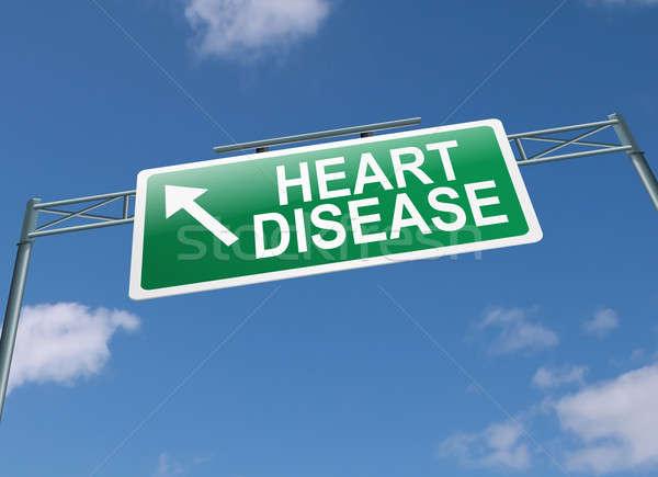 Hartziekte illustratie snelweg teken blauwe hemel medische Stockfoto © 72soul