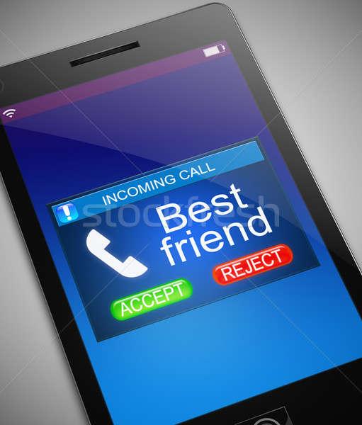 Mejor amigo llamando ilustración teléfono teléfono móviles Foto stock © 72soul