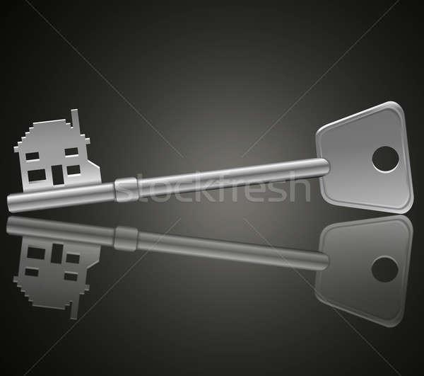 Home veiligheid illustratie sleutel voorgrond donkere Stockfoto © 72soul