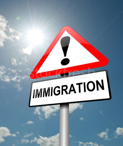 Сток-фото: иммиграция · иллюстрация · красный · белый · Blue · Sky