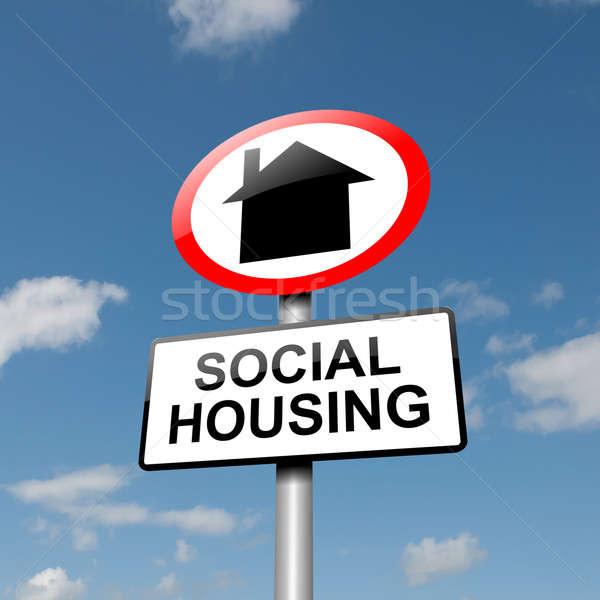 Sociale huisvesting illustratie weg verkeersbord blauwe hemel Stockfoto © 72soul