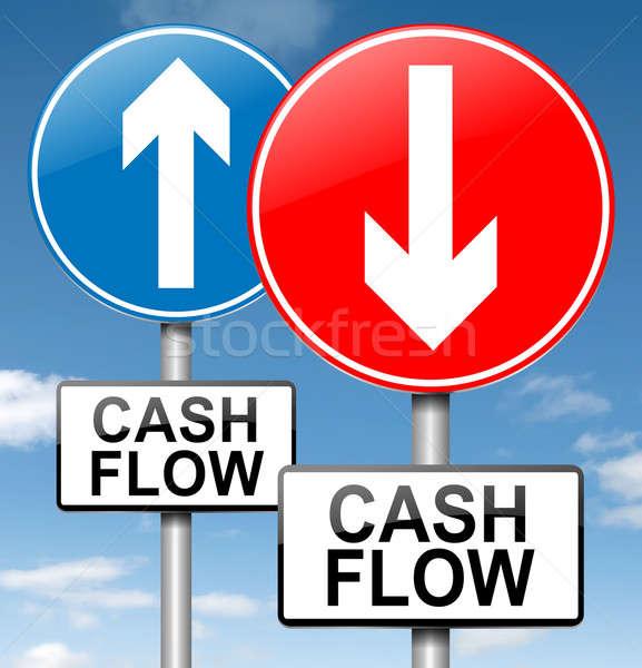 Pénzforgalom illusztráció kettő kék ég pénz felirat Stock fotó © 72soul