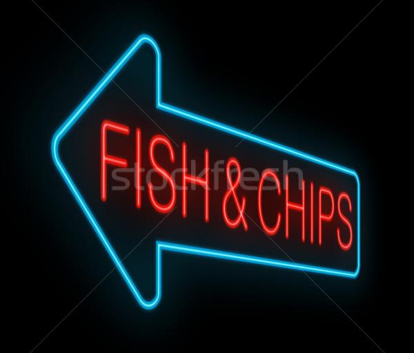 Hal sültkrumpli felirat illusztráció megvilágított neon Stock fotó © 72soul
