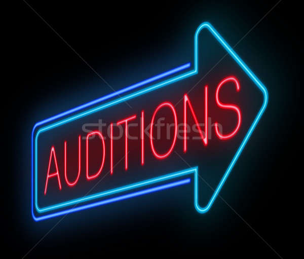 Neon auditions sign. Stock photo © 72soul