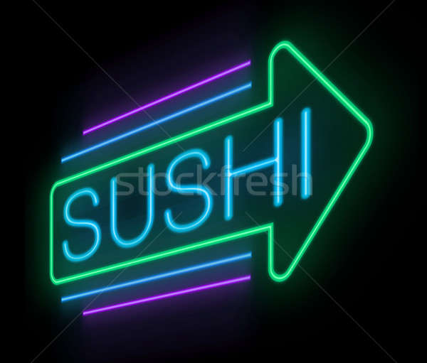 Neon sushi sign. Stock photo © 72soul