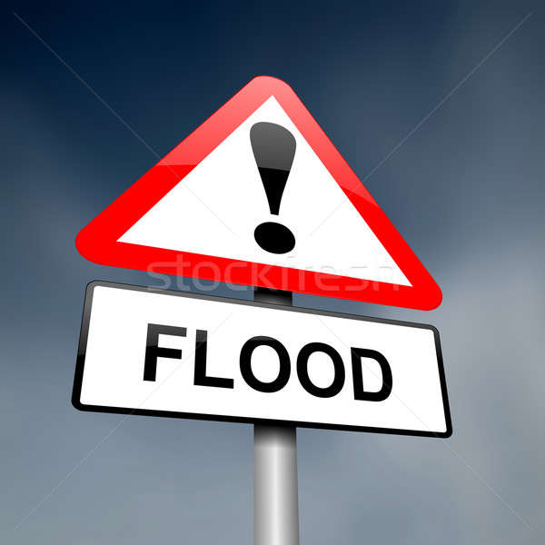 наводнения иллюстрация дороги дорожный знак предупреждение Сток-фото © 72soul