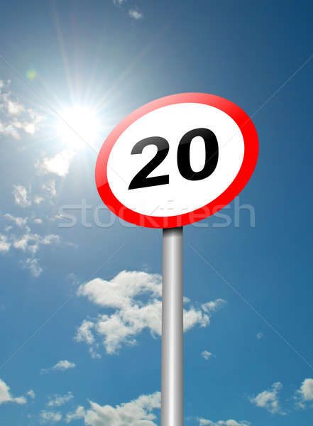 Limite de velocidade assinar ilustração placa sinalizadora blue sky luz solar Foto stock © 72soul