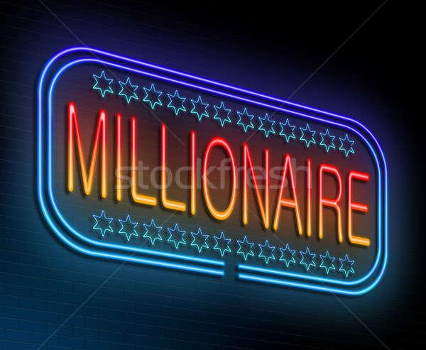 Miljonair illustratie verlicht neonreclame Blauw nacht Stockfoto © 72soul