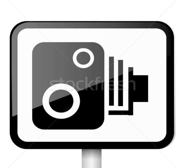 Snelheid camera teken illustratie zwart wit Stockfoto © 72soul