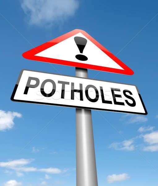 Stock photo: Potholes warning sign.