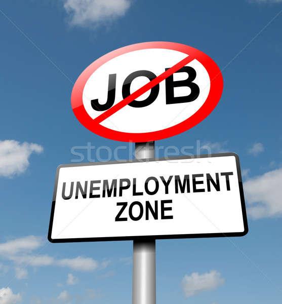 Werkloosheid illustratie weg verkeersbord blauwe hemel geld Stockfoto © 72soul