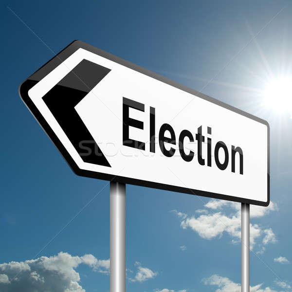 élection illustration route panneau de signalisation ciel bleu fête Photo stock © 72soul