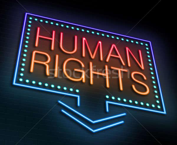Insan hakları örnek neon kırmızı grafik Stok fotoğraf © 72soul