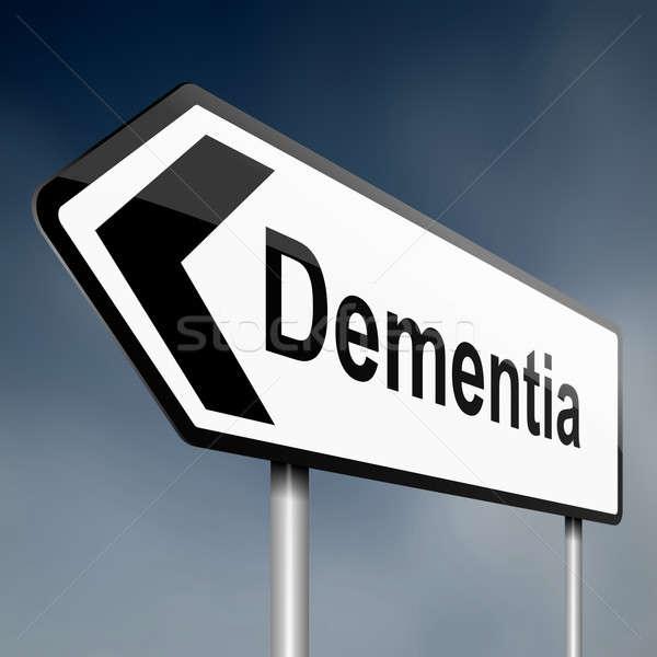 Demencja ilustracja drogowego znak drogowy Błękitne niebo medycznych Zdjęcia stock © 72soul