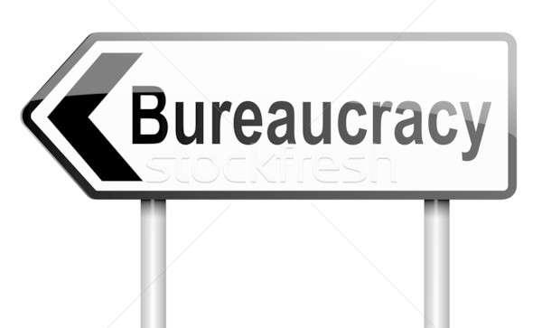 Bureaucratie illustratie weg verkeersbord witte papier Stockfoto © 72soul